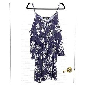 Audrey 3+1 Floral Cold Shoulder Purple Dress Size
